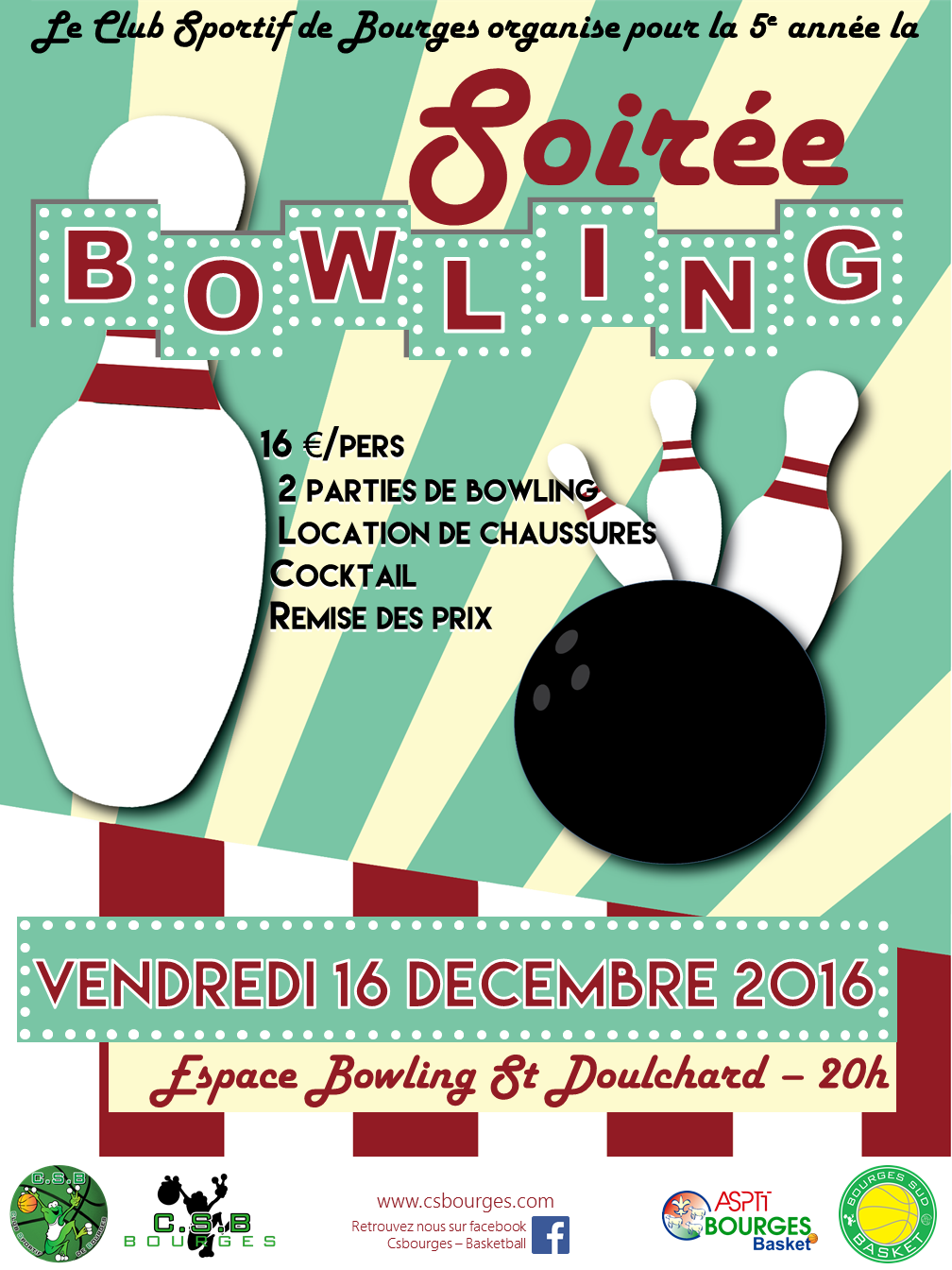Affiche soiree bowling 2016