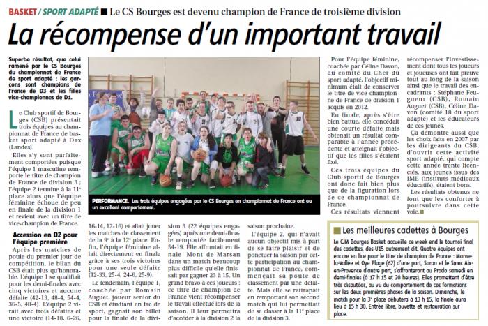 Article sur le Sport Adapté