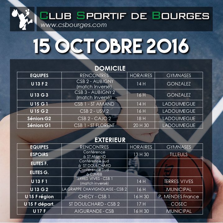 Matchs du WE du 15-16 octobre 2016