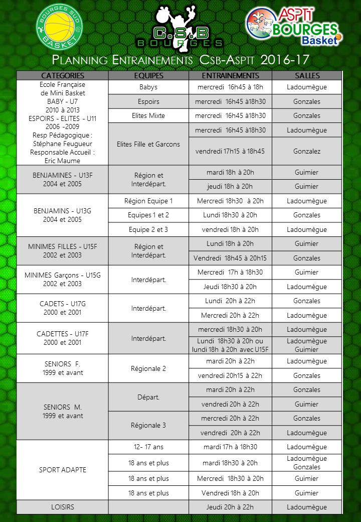 Planning entrainement 2016 2017