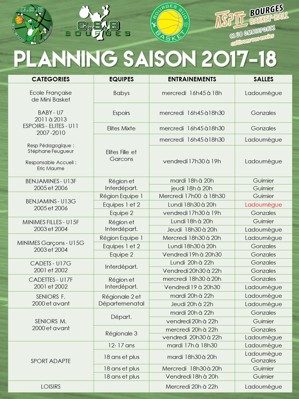 Planning saison 2017 20